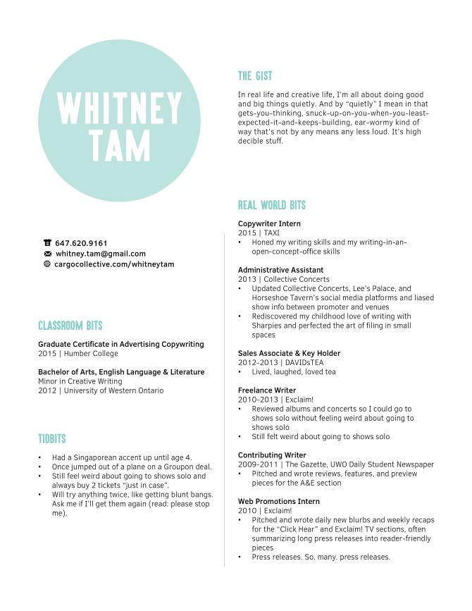Resume - Whitney Tam | Copywriter
